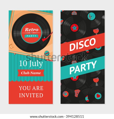 Retro party background with vinyl turntable and pattern. Invitation template.  - stock vector
