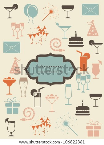 retro party icons with banner - stock vector