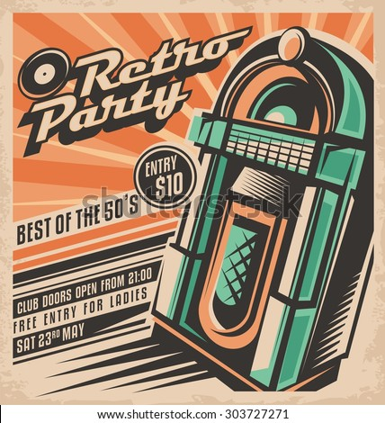 Retro party invitation design template. Vintage jukebox poster layout. Best of fifties rock and roll hits dancing and fun concept. Unique music background theme. Night club or disco event ad. - stock vector