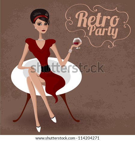 Retro party invitation design. Vector illustration. - stock vector