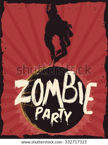 Retro party invitation poster with zombie theme.
