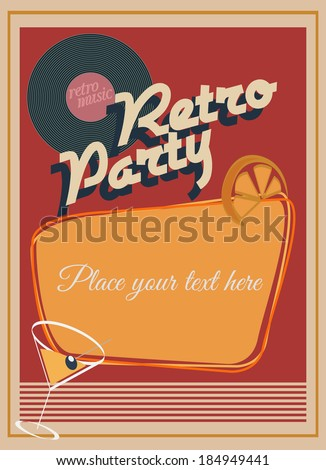 Retro party poster - stock vector