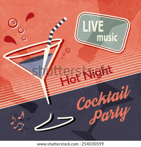 Retro party poster - vintage cocktail background - stock vector