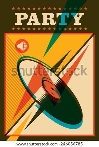 Retro party poster with vinyl. Vector illustration. - stock vector