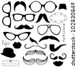 Retro Party set - Sunglasses, lips, mustaches - stock
