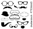Retro Party set - Sunglasses, lips, mustaches - stock photo