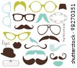 Retro Party set - Sunglasses, lips, mustaches - stock vector