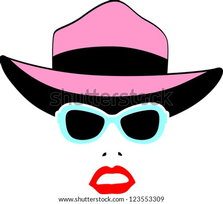 Retro Party set - Sunglasses, lips, mustaches, hat - stock vector