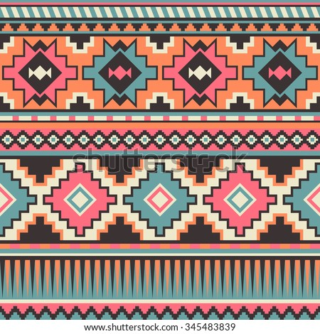 retro pastel multicolor tribal seamless pattern. aztec fancy abstract geometric art print. ethnic hipster backdrop. Wallpaper, cloth design, fabric, paper, wrapping, textile design template. - stock vector