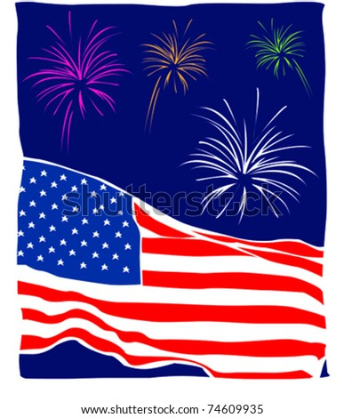 Retro Patriotic Summertime Fourth of July Fun Fireworks Series Vector Illustration