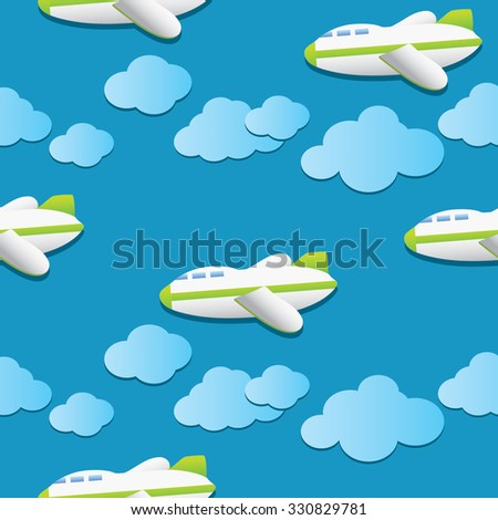 Retro pattern airplane in the blue sky with clouds. Pattern for textile, ornament paper, wallpaper or wrapping paper / Paper for scrapbook or background. Vector illustration. - stock vector