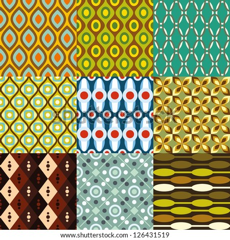 retro pattern collection - stock vector