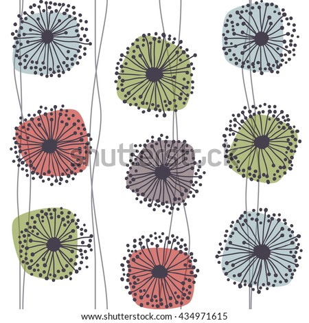 Retro pattern of stylized flowers, eps10 vector - stock vector