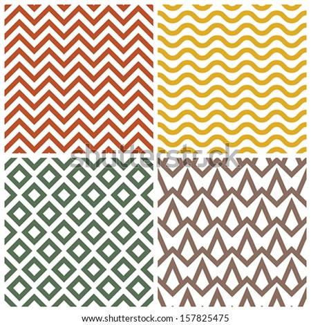Retro pattern set - stock vector