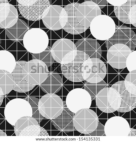 Retro pattern with geometric shapes. Black and white seamless background. - stock vector