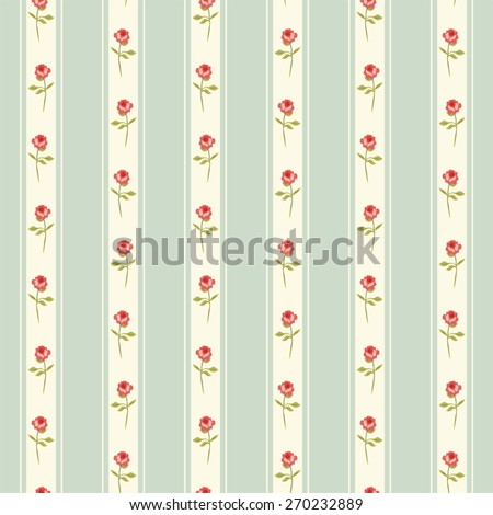 Retro pattern with shabby chic roses on striped background ideal for kitchen textile or bed linen fabric or interior wallpaper design - stock vector