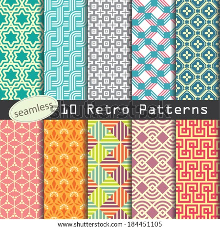 retro patterns collection for making seamless wallpapers - stock vector