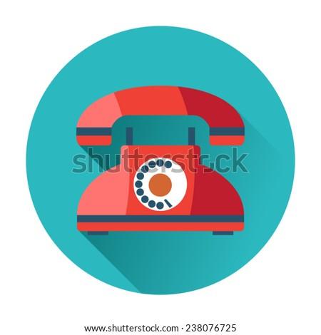 retro phone icon communication technology - stock vector