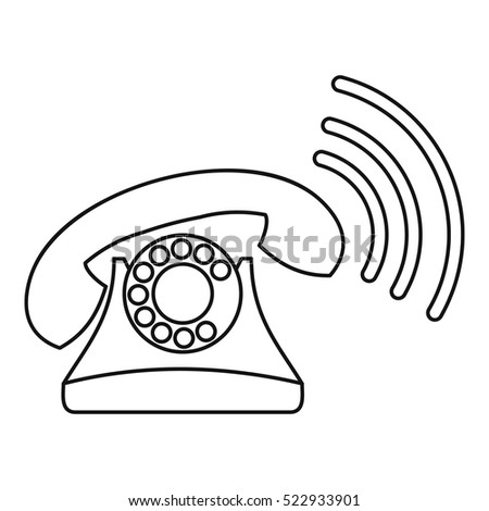 Retro phone ringing icon. Outline illustration of retro phone ringing vector icon for web