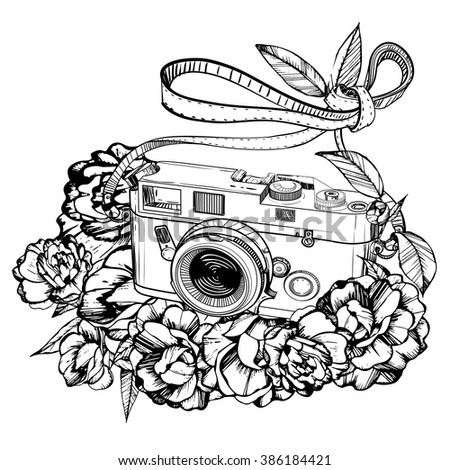 retro photo camera,hipster, Illustration of grunge,handmade, black and white,decorated with camellia - stock vector