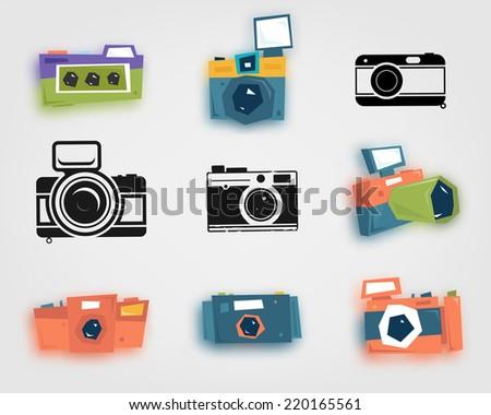 Retro Photo Camera Icons Set - stock vector