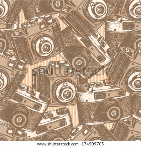 Retro photo camera, vintage seamless pattern