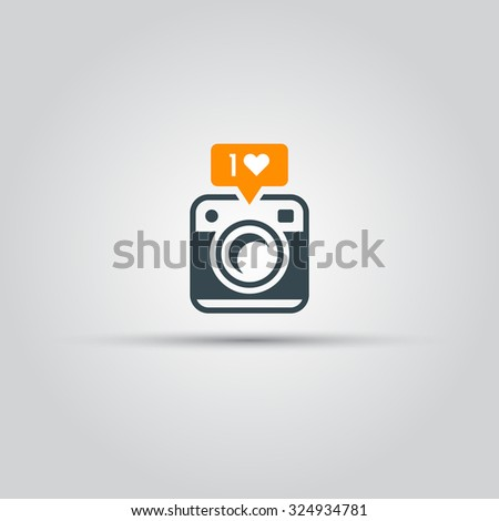 Retro photo camera with like notification vector icon for social network application - stock vector