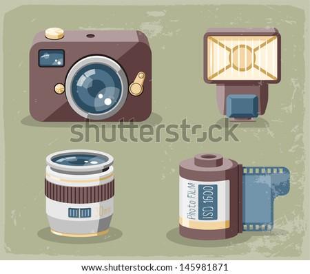 Retro photo equipment icons - stock vector