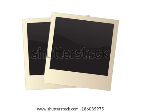 Retro photo frame isolated on white background, vector illustration - stock vector