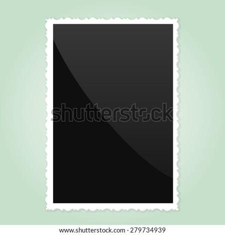 Retro Photo Frame   On green Background. Vector illustration - stock vector