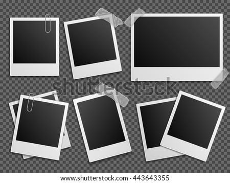 Retro photo vector set. Photo frames for family album. Empty vintage photography card sets, vector illustration