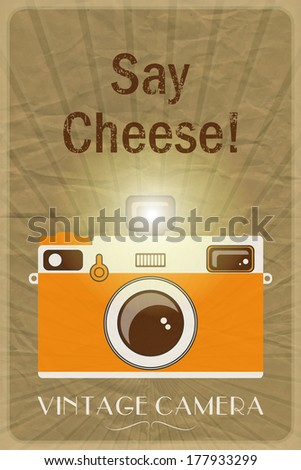 Retro photographic poster with the slogan Say Cheese!, on crumpled brown paper background. EPS10 vector format - stock vector