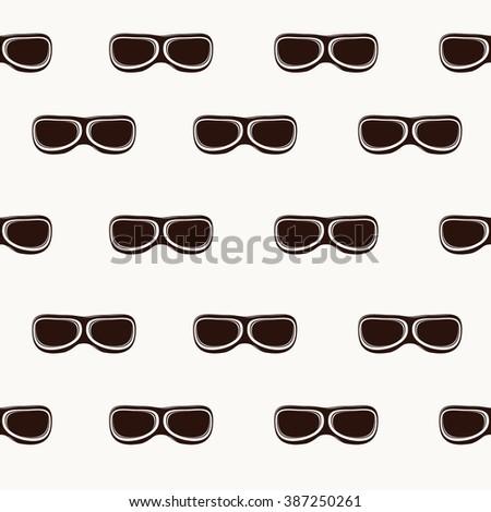 Retro pilot aviator glasses. Harvest object. Vector illustration. seamless pattern - stock vector
