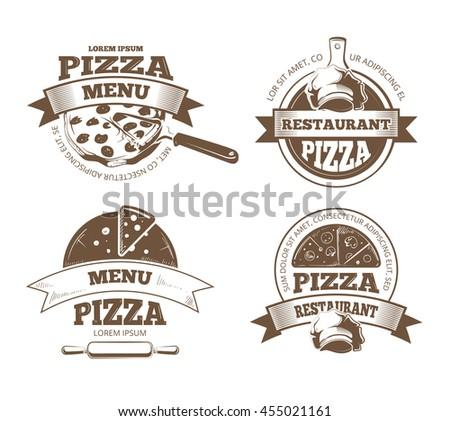 Retro pizzeria vector labels, logos, badges, emblems with pizza icons. Pizzeria logo restaurant and vintage emblem for pizzeria illustration - stock vector