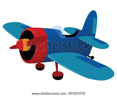 Retro plane toy. Vector illustration
