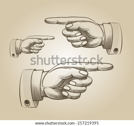 Retro pointing. Vintage and direction, finger-pointing and showing. Vector illustration - stock vector
