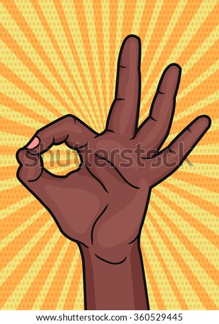 Retro pop art african woman hand showing OK sign. Bright comic style placard with Okay hand gesture. Vector illustration.
