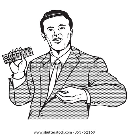 Retro pop art comic style illustration of businessman holding success sign