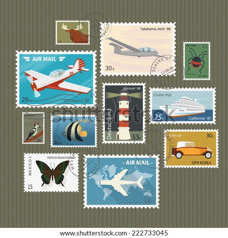 Retro postage stamps collection on textured paper - stock vector