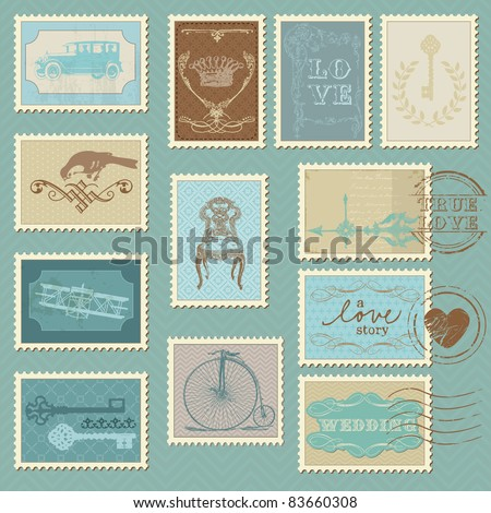Retro Postage Stamps - for wedding design, invitation, congratulation, scrapbook - stock vector
