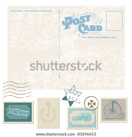 Retro Postcard and Postage Stamps - for wedding design, invitation, congratulation, scrapbook - stock vector