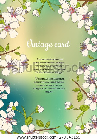 Retro postcard with cherry blossom - stock vector
