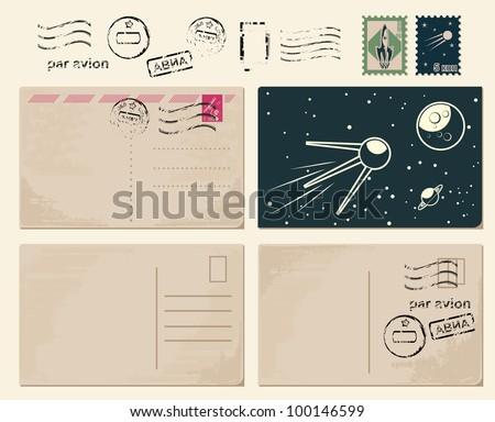 retro postcards backgrounds - stock vector