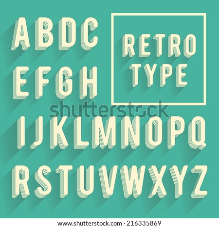 Retro poster alphabet. Retro font with shadow. Latin alphabet letters - stock vector