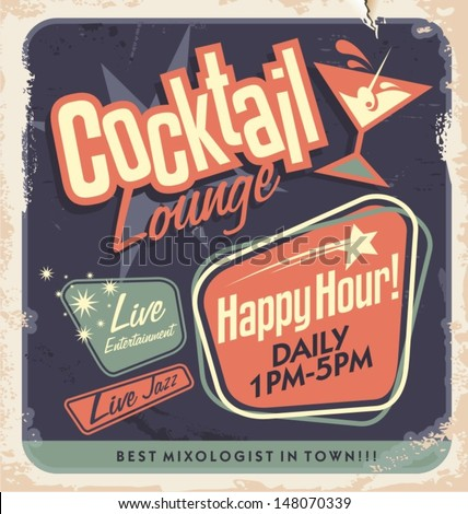 Retro poster design for cocktail lounge. Vintage card layout on old paper texture for bar or restaurant. - stock vector