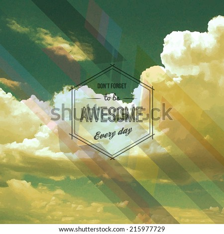Retro Poster Design with clouds. Vector - stock vector