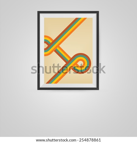 Retro Poster in a Frame on Wall. Vector illustration. - stock vector
