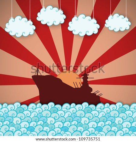 Retro poster of battleship in sea. Vector eps10 illustration - stock vector