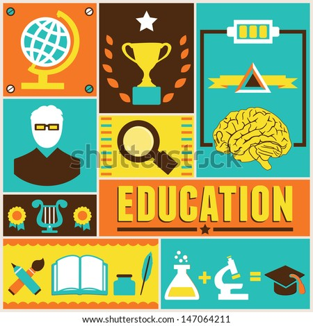Retro Poster Education Vector Illustration Stock Vector 147064211 ...