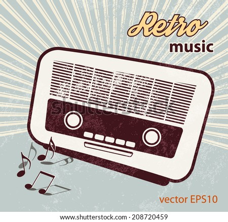 Retro poster - old radio - music template - stock vector